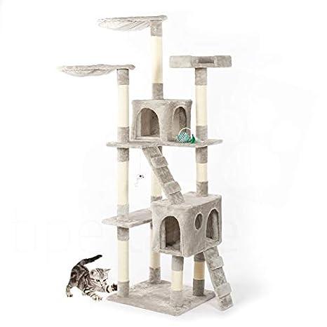 Rascador con cesto para gatos. Parque de juegos de árbol. Juego rascador para gatos, 170 cm, gris: Amazon.es: Bricolaje y herramientas