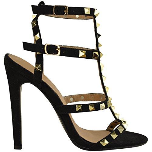 Mode Dorstige Dames Stud Hoge Hak Stiletto Partij Sandalen Rock Nauwelijks Daar Schoenen Maat Zwart Faux Suede