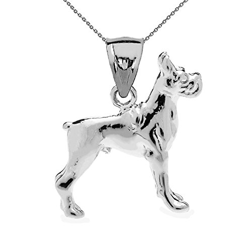 Sterling Silver 3D Boxer Dog Charm Pendant Necklace with 18