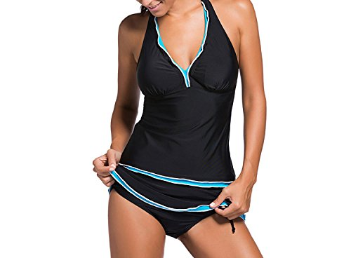 Standing Bikini Halter Sexy V-Neck Frill Irregular Skirt Split Swimwear,Black + Blue Edge,XXXL