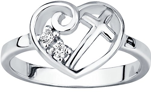 Christian Promise Ring for Her: Sterling Silver CZ Simulated Diamond Heart & Cross Promise Ring, S6