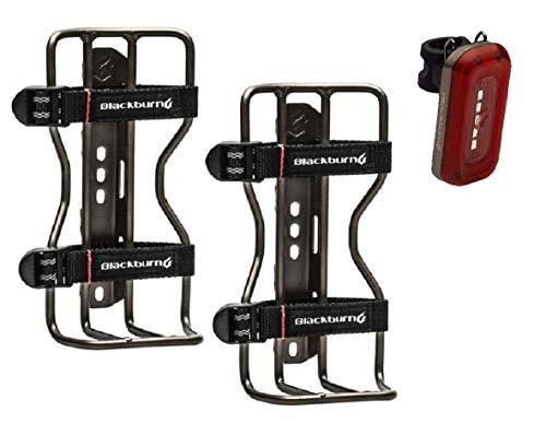 Bike Accessories Sets - Blackburn Water Bottle Holder Outpost Cargo Cage (Blackburn Water Bottle Cages + A Bike Light, 2 Bottle Cages)
