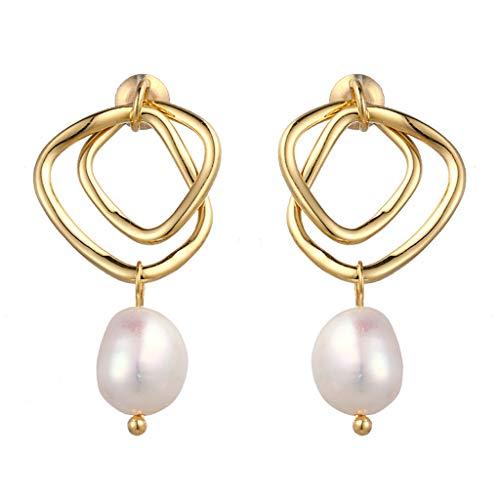 Kofun Earrings, Natural Freshwater Pearl Dangle Drop Earrings S925 Sterling Silver Pin Jewelry 1# (Pearl Freshwater Best)