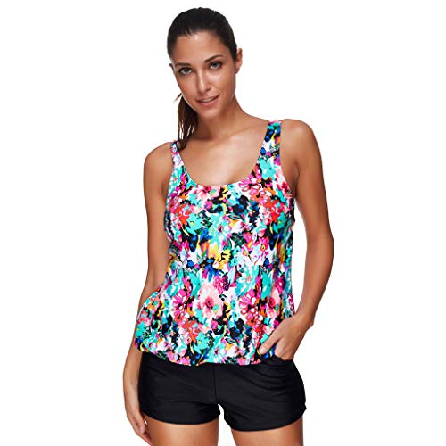 Sunmoot Printed Tankini for Women Two Piece Swimsuits Summer Backless Cami Sport Swimsuit Swimwear Bathing -