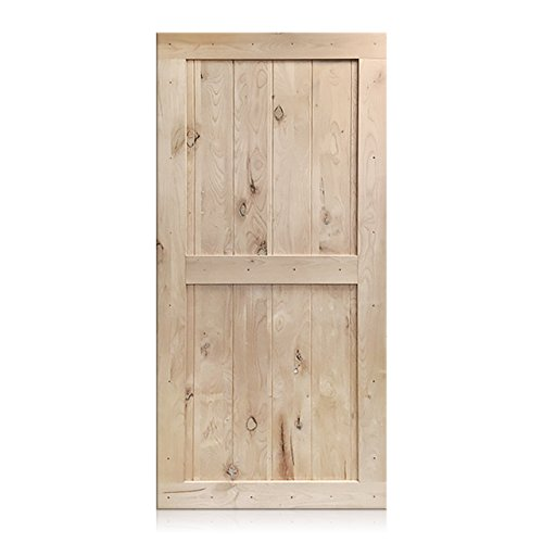 Rustic Unfinished Barn Door 2-Panel V-Groove Knotty Alder Wood Closet Sliding Door (Alder Wood Doors)