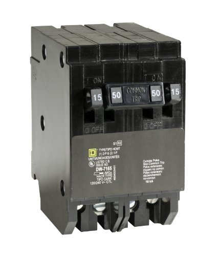 Square D by Schneider Electric HOMT1515250CP Homeline 2-15-Amp Single-Pole 1-50-Amp Two-Pole Quad Circuit Breaker