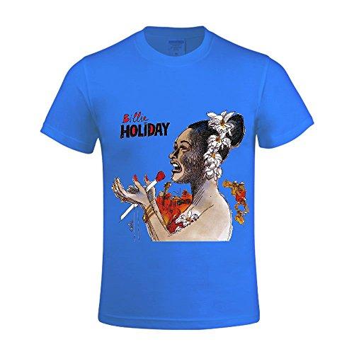 billie-holiday-men-t-shirts-round-neck-short-sleeve-blue