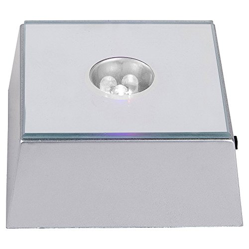 IFOLAINA White LED Light Base for Crystal Cube Display Square Stand