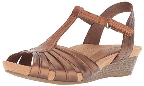 Cobb Hill Women's Hollywood Pleat T Sandal, Bronze, 8 M US