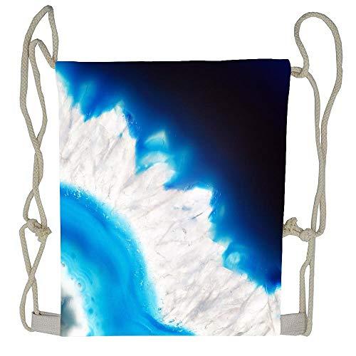 WATINCFlagHomegg Blue Agate Mineral Super Macro Drawstring Tote Bag Cinch Gym Bags Storage Backpack for Boys -