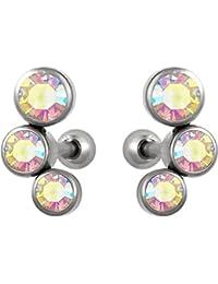 Set of Cartilage Stud Earrings: 16g 6mm Surgical Steel Triple Aurora Borealis CZ Crystal Earrings