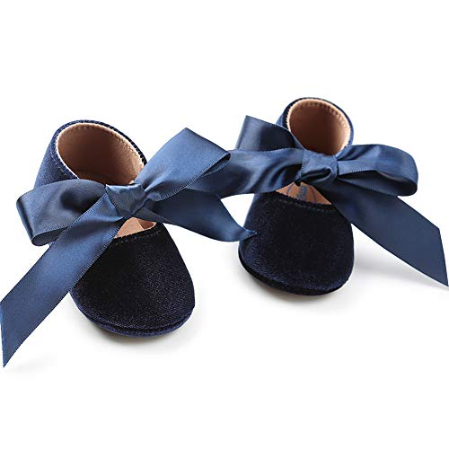 Baby Girls Mary Jane Flats Anti-Slip Rubber Sole Bow Toddler Princess Dress Shoes (4.33 inches (0-6 Months), Y-Navy - Baby Girl Dress And White Blue
