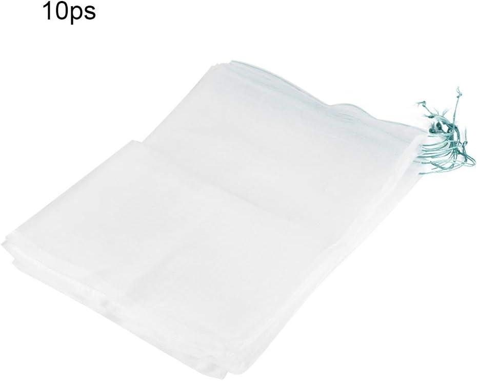 Camidy 10 Piezas de Bolsas de Protección de Frutas Duraderas para Plantas Bolsa de Malla con Cordón contra Aves Plagas de Insectos 45 * 30 Cm