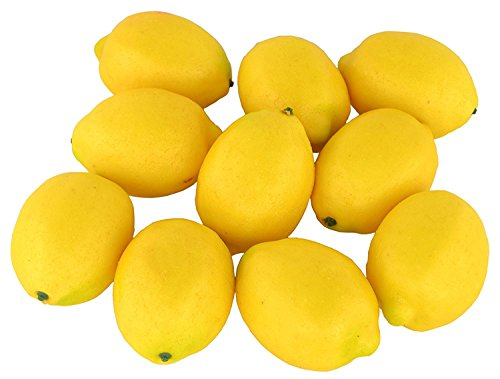 (SAMYO Fake Fruit Home House Kitchen Party Decoration Artificial Lifelike Simulation Yellow Lemon 10pcs Set)