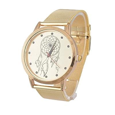 Souarts Gold Color Pattern Steel Dreamcatcher Dial Bracelet Quartz Round Watch