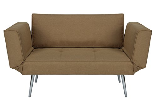 DHP Euro Sofa Futon Loveseat with Chrome Legs and Adjustable Armrests - Tan Living Room Set Chaise