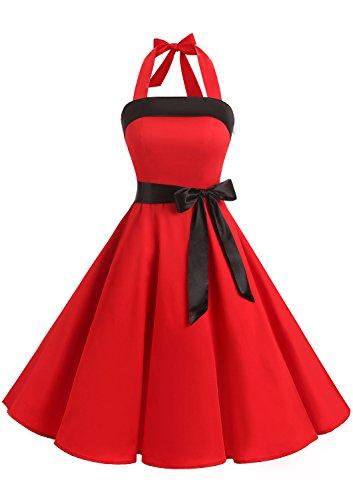 Timormode vintage jurk knielang retro cocktailjurk nekhouder swing plooirok
