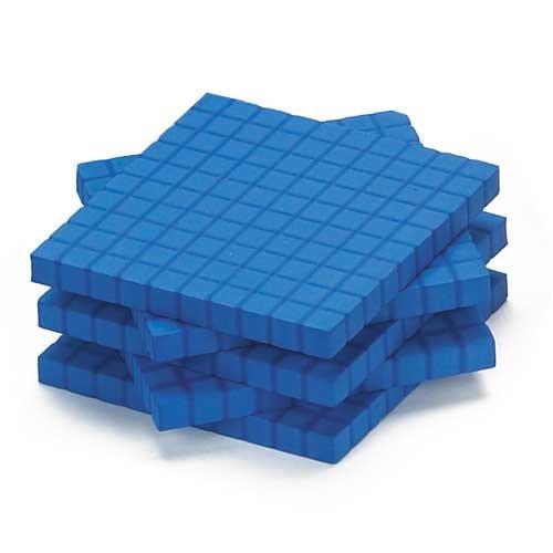 EAI Education QuietShape Foam Base Ten Flats: Blue - Set of -