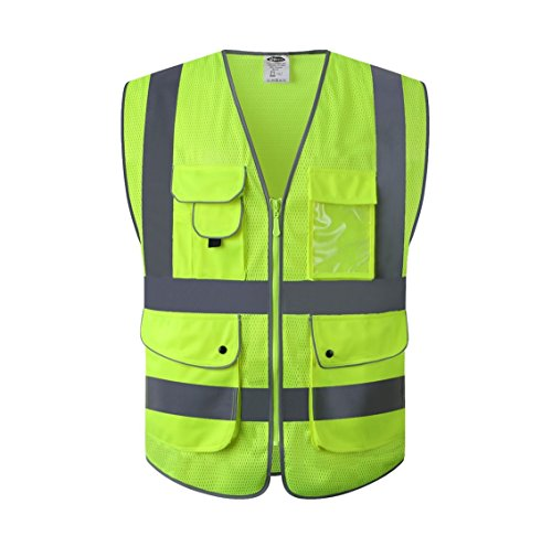 JKSafety 9 Pockets Class 2 High Visibility Zipper Front Safety Vest With Reflective Strips,HQ Breathable Mesh, Yellow Meets ANSI/ISEA Standards(Medium, Yellow) by JKSafety