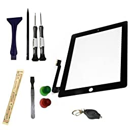 YAGADGET iPad 4th Gen New Ipad Touch Screen Glass Digitizer Screen Replacement Kit + Adhesive + Special iPad Tool Kit (Full Do It Yourself Kit) Black