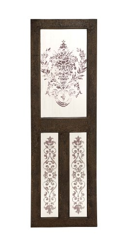 Deco 79 50952 Wood Mirror Wall Decor (Distressed Damask Wallpaper)