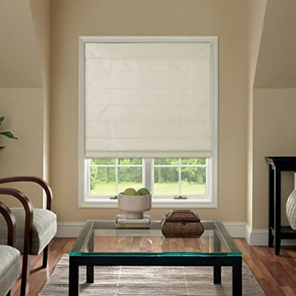 Amazon Com Cordless Fabric Roman Shade Cream 27x64 Home Kitchen