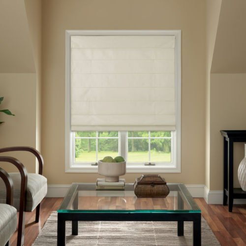 Cordless Fabric Roman Shade Cream 39x64