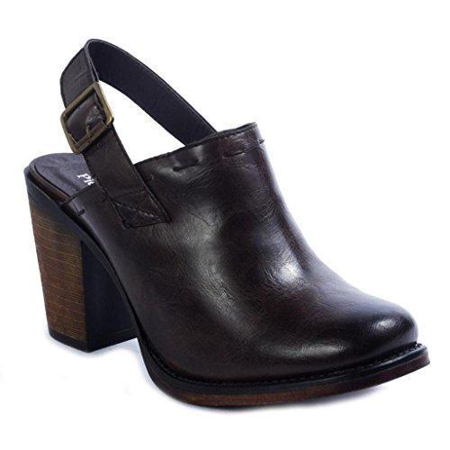Pierre Dumas Ravenna-3 Women's Vegan Leather Adjustable Slingback Chunky Stacked Heel Clog Mule, Brown, 9 B(M) US