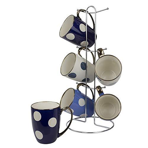Home Basics 6 Piece Mug Set with Stand (Large Dots)