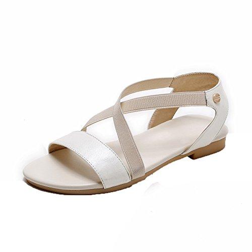 Abierta Sólido Mini Tacón Pu Puntera de Sandalias vestir Mujer AalarDom Blanco OYwEFqF