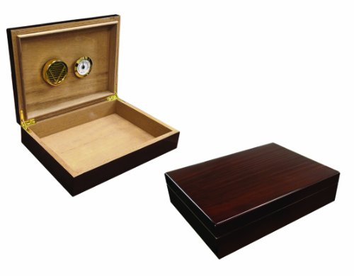 Prestige Import Group 25 Count Dark Walnut Lacquer Cigar Humidor