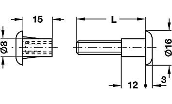 Schrankverbinder mit M6 Gewinde Gedotec M/öbelschrauben Verbindungsschraube mit H/ülse Stahl//Kunststoff wei/ß H/ülsenschrauben Holzdicke 30-39 mm mit Flachklinge 10 St/ück