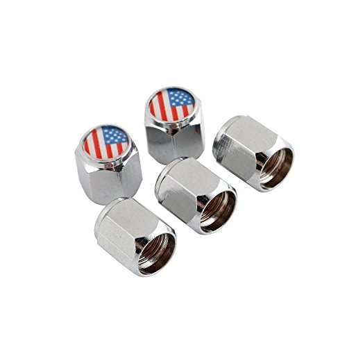 - Godeson Chrome-Plated Brass Hexagonal Tire Valve Stem Caps U.S. Flag, Good Decorated Copper Tire Wheel Stem Air Valve Caps Automtive, Motorcycles,Bicycles Tire, 5 Pcs/Set, 1pcs Spare.