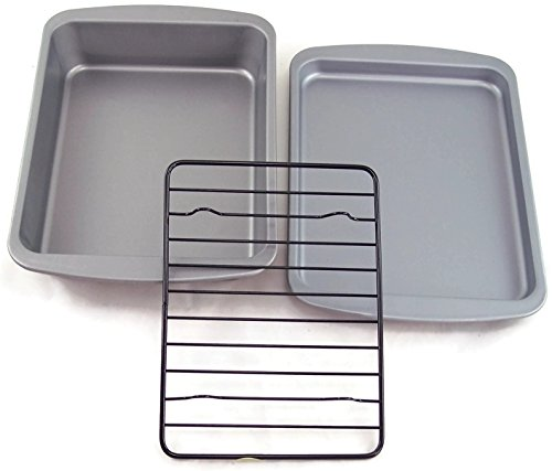 OvenStuff Toaster Oven Bakeware Set (Toaster Oven Broiler Rack compare prices)