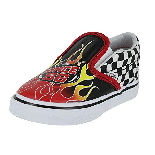 Vans Toddler T Classic Slip ON Race Flame Black Racing RED WH Size 8 -