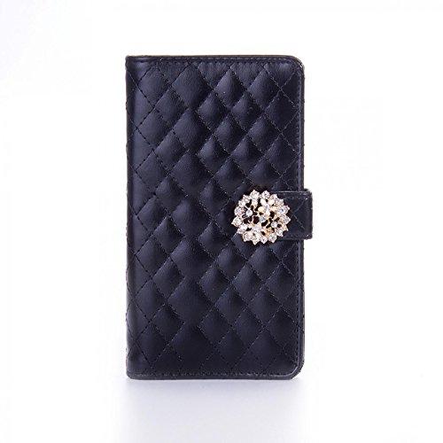 Book Style Design Handy Tasche Karo Metallic mit Visitenkartenfunktion und Strassblumen applikation Flip Cover Schutz Hülle Schale Klapp Etui Case Modern Bag für Apple iPhone 4 4G 4S in Schwarz