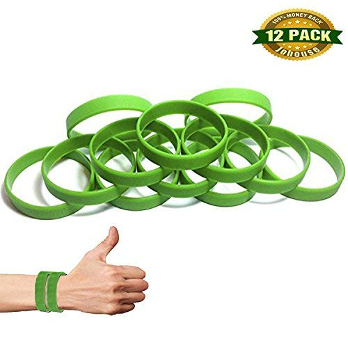(Johouse Green Silicone Wristband, Rubber Bracelets Wristbands Bracelets Blank Rubber Bracelets Party Favors Sports Accessories, Green, 12 PCS)