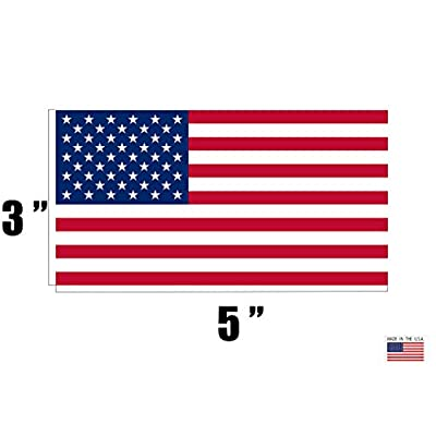 """4 Pack American Flag Patriotic Stars and Stripes Auto Decal Bumper Sticker 5x3"""" - Industrial Strength Vinyl Decal For Cars, Trucks, RV, SUV's & Boats - Support US Military (4x Original): Automotive"""