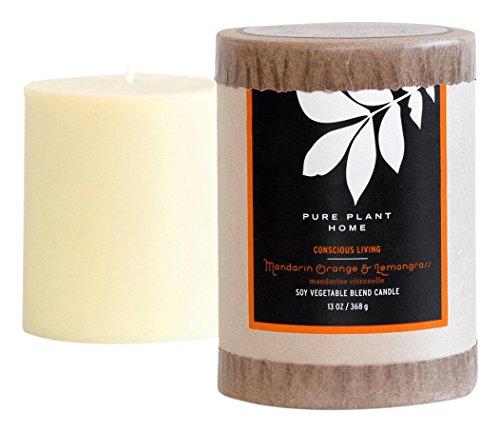 PURE PLANT HOME 3 x 3.5 Soy/Coconut Blend Pillar Mandarian Orange/Lemongrass