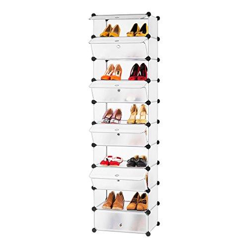 LANGRIA 10-Cube DIY Shoe Rack Tower, Versatile Cube Storage Combination Cupboard, Freestanding Organiser Cabinet with Doors, Translucent White
