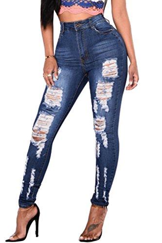 Simgahuva Womens Distressed Jeans Elastico Lápiz Pantalones De Cintura Alta Azul