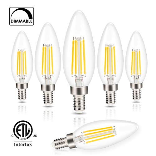Candelabra LED Bulbs Filament Dimmable Vintage Edison Light Bulb Chandelier,Daylight 5000k,40 Watt Equivalent,400 Lumen,E12 Base,6 -