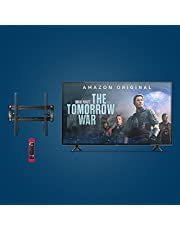 """Amazon Fire TV 50"""" 4-Series 4K UHD smart TV bundle with Universal Tilting Wall Mount and Red Remote Cover"""