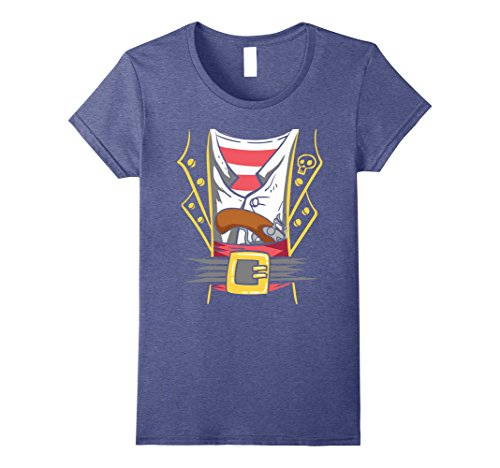 Womens Halloween Pirate Costume Shirt - Funny Costume Pirate Tee Small Heather Blue