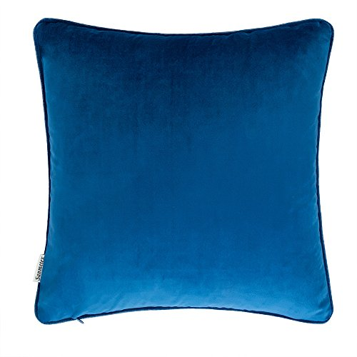 Sanmetex Soft Velvet Decorative Throw Pillows Cover Bedroom Pillow Case with Invisible Zipper for Couch 18 x 18-Inch 45cm X 45cm Navy (Washed Velvet Pillow Cover)