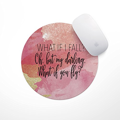What if I Fall Watercolor Mouse Pad - Neoprene Inspirational Quote Mousepad, Office Space Decor, Home Office, Computer Accessories