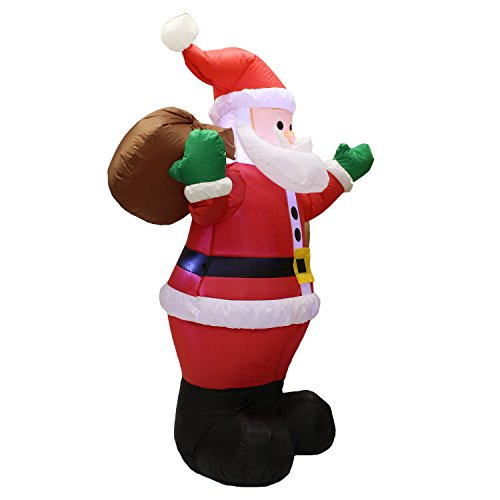 Joiedomi 6 Foot Inflatable Santa Claus; LED Light Up Giant Christmas Xmas Inflatable Santa Claus Carry Gift Bag for Blow Up Yard Decoration, Indoor Outdoor Garden Christmas Decoration by by Joiedomi (Image #2)