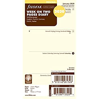 Filofax 2020 Personal Size Diary week on 2 pages  Refill 20-68427 cream