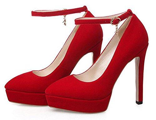 Chfso Donna Sexy Stiletto Ciondolo Punta A Punta Cinturino Alla Caviglia Fibbia Tacco Alto Pompe Della Piattaforma Rosso