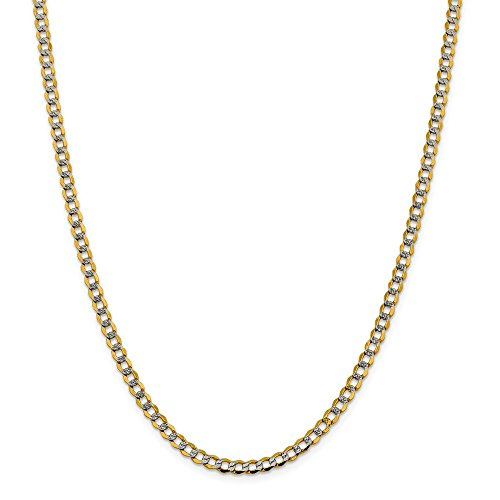 14k Yellow Gold And Rhodium Plated 4.3mm Semi Solid Curb Chain Necklace 24inch 14k Yellow Gold Rhodium Plated